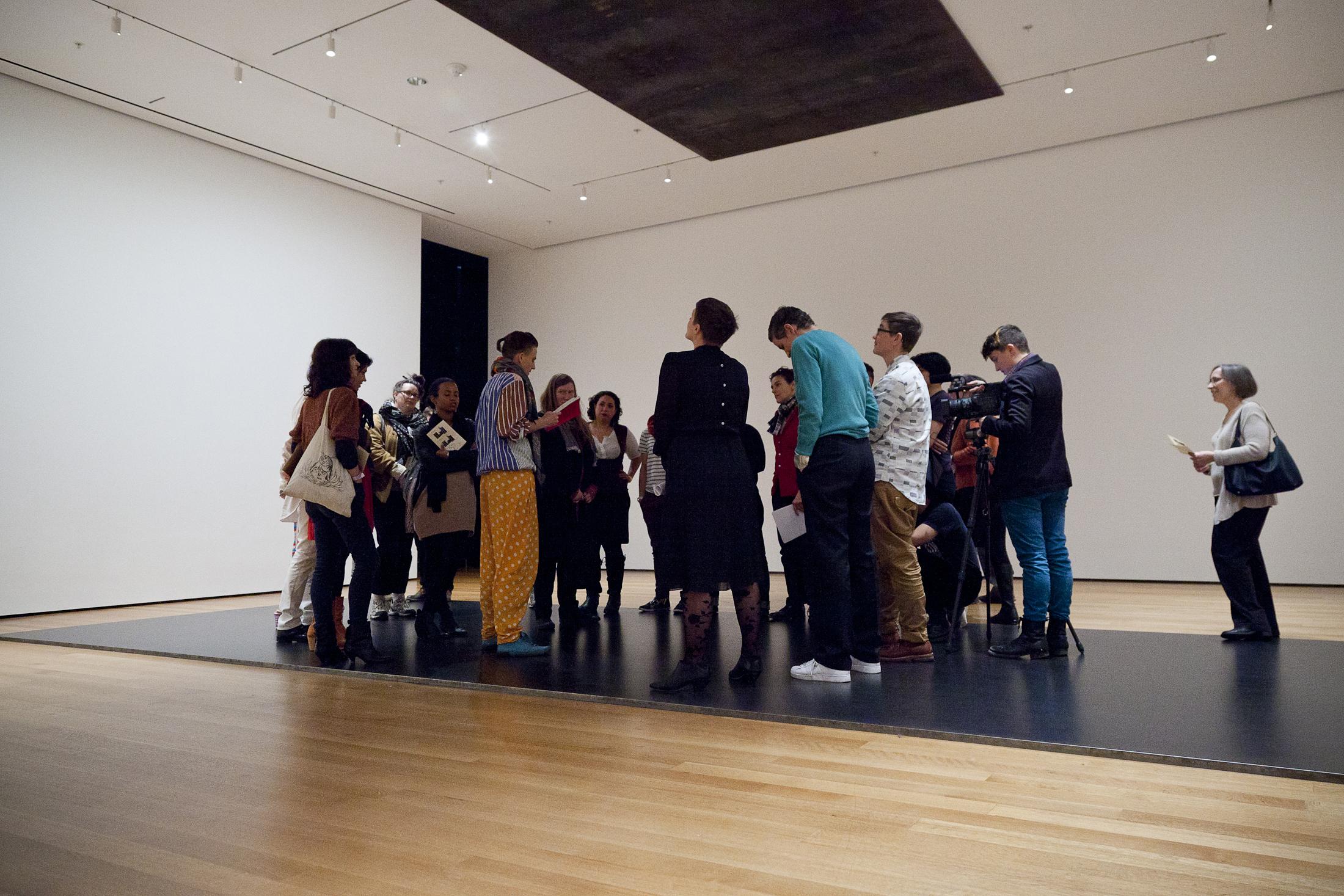 A.K. Burns reads Wittig and Bataille inside Richard Serra's Delineator